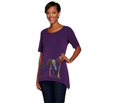 """As Is"" Quacker Factory Luau Sparkle Trapeze Hem ShortSleeve Knit T-shirt"