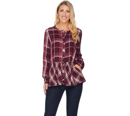 LOGO by Lori Goldstein Button Front Plaid Top with Peplum Detail