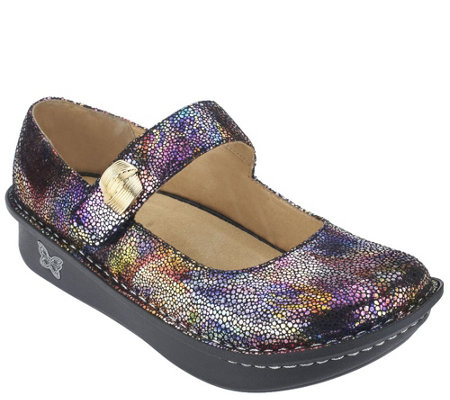 """As Is"" Alegria Leather Mary Janes w/Embellishment - Paloma"