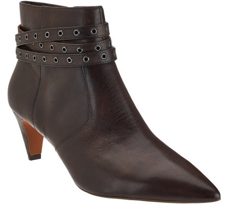"""As Is"" G.I.L.I Leather Pointed Toe Ankle Boots - Kodelle"
