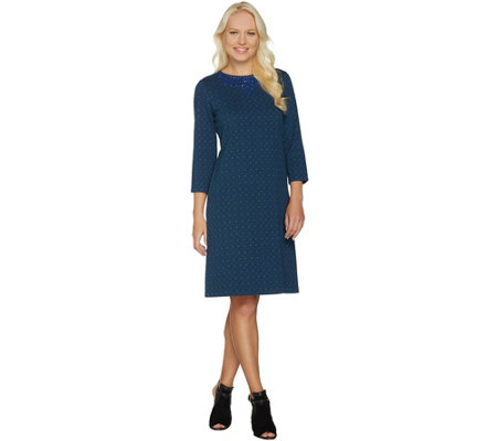 C. Wonder Jacquard Knit 3/4 Sleeve Dress with Beading