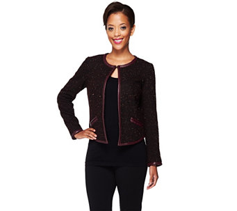 """As Is"" Edge by Jen Rade Jacket with Faux Leather Trim - A281913"