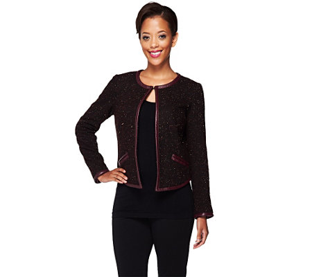 """As Is"" Edge by Jen Rade Jacket with Faux Leather Trim"