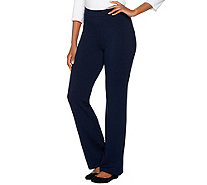 Susan Graver Weekend Brushed Back Knit Mini Boot Cut Pants - A282113