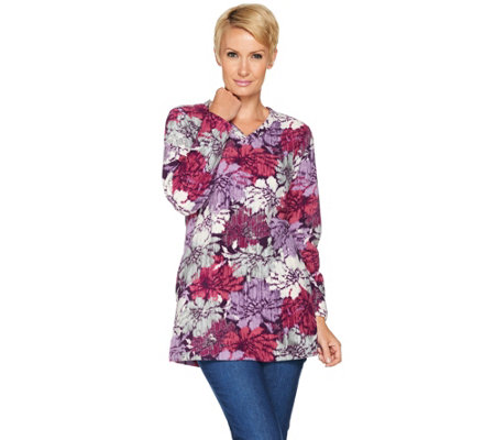 Denim & Co. Floral Printed Fleece V-neck Tunic with Pockets