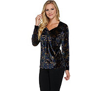 Susan Graver Printed Stretch Velvet Long Sleeve Top - A282913