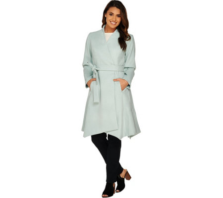 H by Halston Wrap Front Belted Coat with Asymmetric Hem