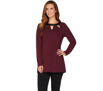 Belle by Kim Gravel Faux Leather Trim Cut-Out Tunic - A283913