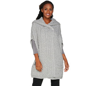 Aran Craft Merino Wool Drop Shoulder Vest with Hood - A284413