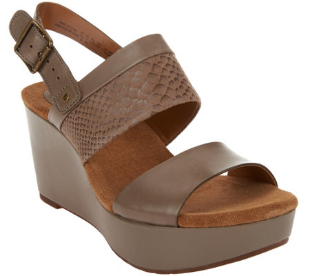 """As Is"" Clarks Artisan Leather Multi-strap Wedge Sandals - Caslynn Kat"
