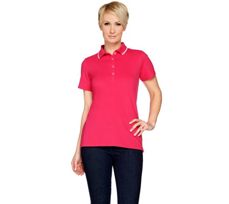 """As Is"" Susan Graver Weekend Pique Cap Sleeve Polo Shirt"