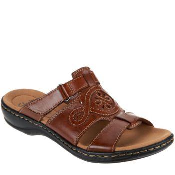 Clarks Leather Adjustable Slide Sandals - Leisa Higley
