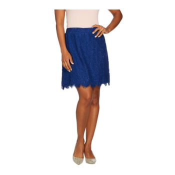 Isaac Mizrahi Live! Floral Lace Skort with Scallop Hem
