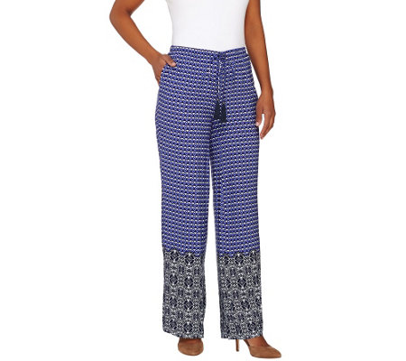 """As Is"" Isaac Mizrahi Live! Regular Geo Print Wide Leg Pants"