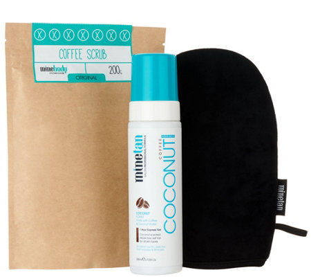 MineTan Coconut Coffee Tanning Foam and Coffee Scrub w/ Mitt