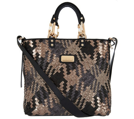"""As Is"" Plinio Visona Intreccio Italian Leather Woven Shopper"