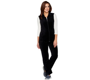 """As Is"" Denim & Co. Petite Active Vest and Pants Velour Set - A294213"