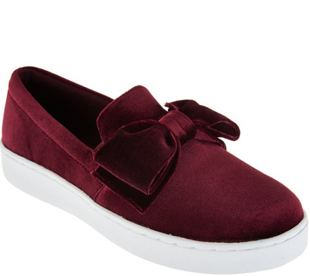 Isaac Mizrahi Live! SOHO Velvet Bow Slip-On Sneakers