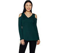 H by Halston VIP Ponte V-neck Cold Shoulder Top - A296713