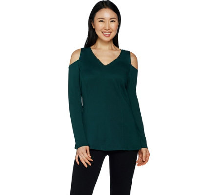H by Halston VIP Ponte V-neck Cold Shoulder Top