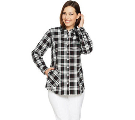 Joan Rivers Plaid Shirt with Back Button Detail