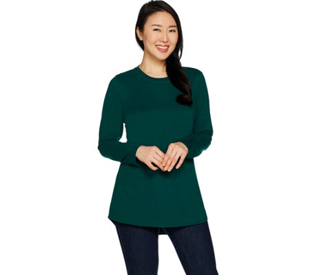 Denim & Co. Lux Jersey Crew Neck Long Sleeve Hi-Lo Hem Tunic