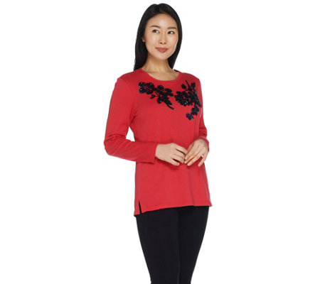 Quacker Factory Floral Sequin Long Sleeve Knit Top