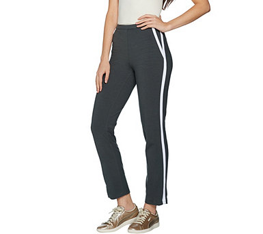 Women with Control Slim Leg Ankle Pants w/ Contrast Trim - A299813