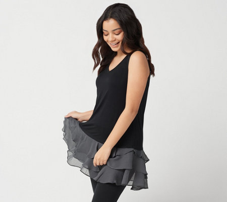 LOGO Layers by Lori Goldstein Knit Tank Top w/ Yoryu Ruffle Hemline