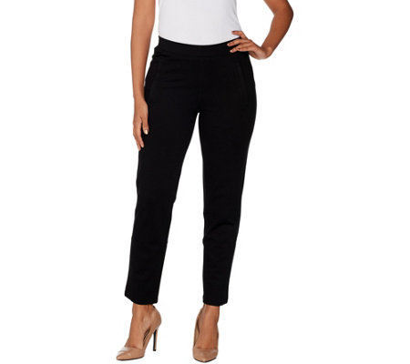 H by Halston Petite Slim Leg_Knit Twill Pull-On Ankle Pants
