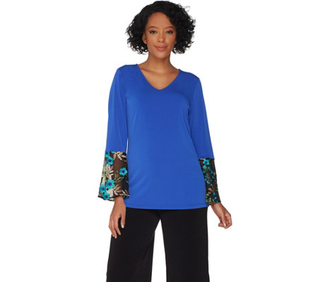 Susan Graver Liquid Knit Top with Embroidered Sleeves