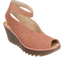 FLY London Perforated Leather Wedge Sandals - Yala Perf - A305113