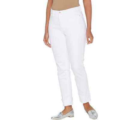 Studio by Denim & Co. Petite Classic Denim Cuffed Ankle Jeans - White