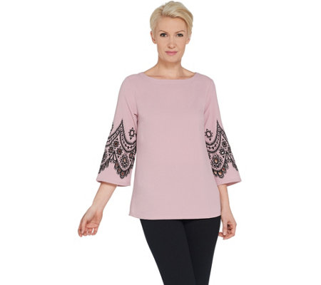 Bob Mackie's Embroidered Lace and Cut Out Bell Sleeve Pullover Top