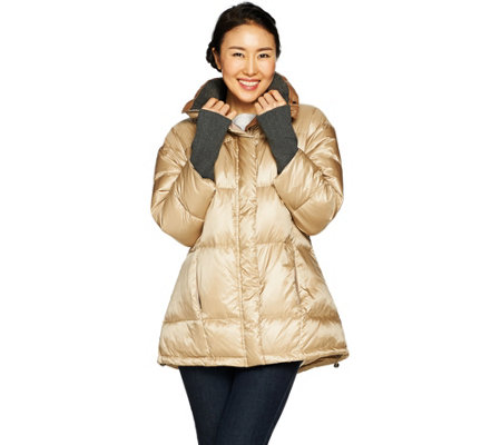 """As Is"" G.I.L.I. Down Pod Puffer Coat with Knit Trim"