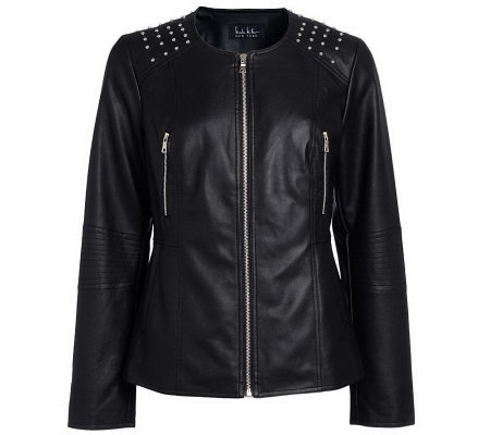 Nicole Miller Peplum Faux Leather Jacket with Stud Details ...