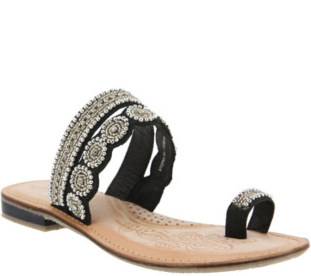 Azura by Spring Step Leather Slide Sandals -Finka