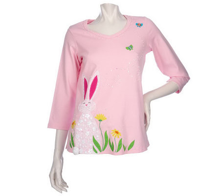 Quacker Factory 3/4 Sleeve Candy Bunny T-Shirt