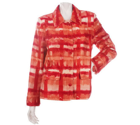 Susan Graver Shantung Watercolor Plaid Printed Jacket