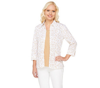 Denim & Co. 3/4 Sleeve Crinkle Burnout Woven Shirt with Knit Tank - A213814