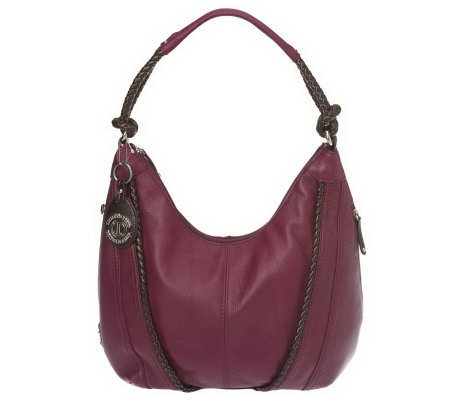 Tignanello Pebble Leather Hobo Bag with Woven Accents