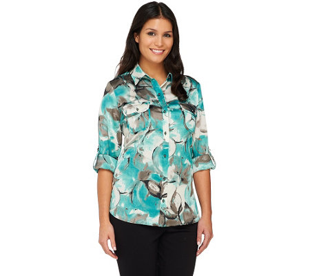 Susan Graver Charmeuse Printed Blouse with Roll Tab Sleeves