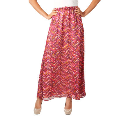 Isaac Mizrahi Live! Painterly Chevron Print Maxi Skirt