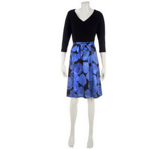 Isaac Mizrahi Live! Ponte Dress with Printed Skirt - A227314