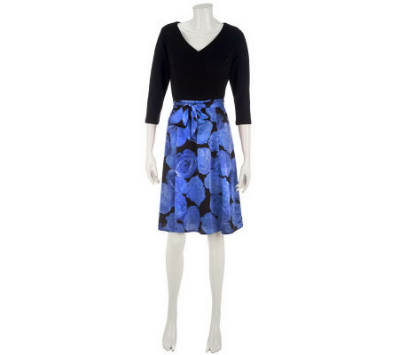 Isaac Mizrahi Live! Ponte Dress with Printed Skirt
