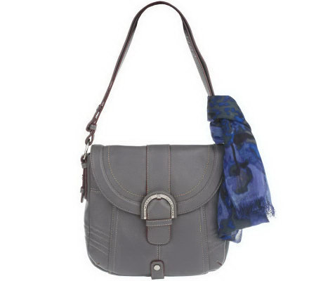 """As Is"" Isaac MIzrahi Live! Pebble Leather Flap Hobo"