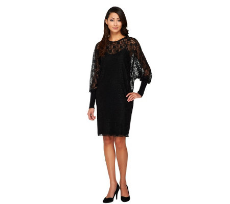 Kris Jenner Kollection Dolman Sleeve Lace Dress with Slip