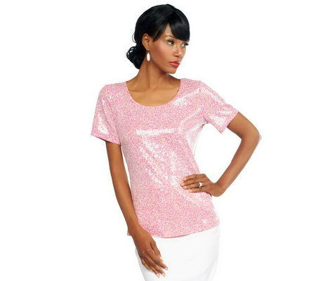 Joan Rivers Sequin Short Sleeve Tee Shirt