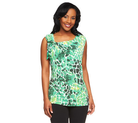 Susan Graver Printed Liquid Knit Sleeveless Top with Shoulder Detail