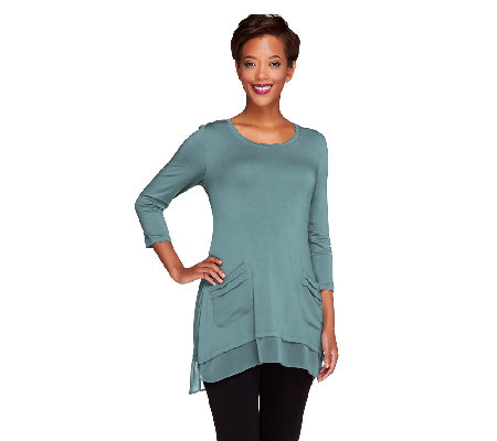 LOGO by Lori Goldstein 3/4 Sleeve Knit Top with Chiffon Trim